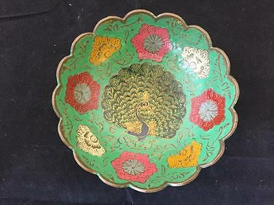 Brass Dish Enamelled Hand Painted Floral Design With Peacock 11.5cm Diameter