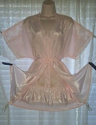 Vtg Deena Pink with Lace Peignoir Robe Nightgown Gown Negligee SET S