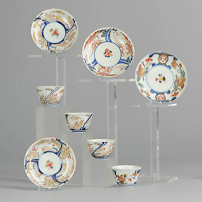18C Japanese Porcelain Cups & Saucers Imari 'Birds & Flowers in Garden'