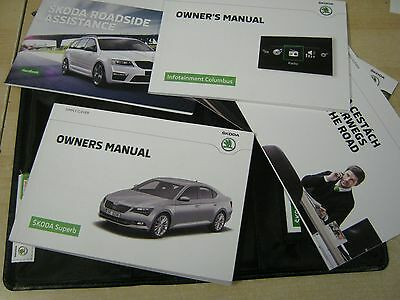 Skoda Superb Handbook Owners Manual Wallet 2014-2016 Inc Sat Nav