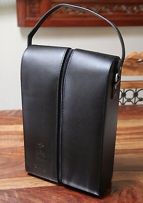 Genuine Black Leather Oakhill College Insulated 2 Bottles Wine Tote Bag Carrier