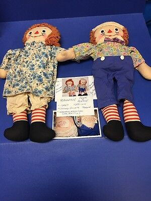 "Vintage Raggedy Ann & Andy 18"" Dolls Johnny Gruelle's Georgene Novelties Inc."