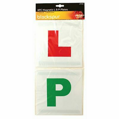Magnetic L & P Plates -2 X Red Learner + 2 X Green Pass- New Car Drivers/driving