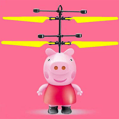 For Peppa Pig Remote Electric RC Fly Ball Infrared Induction Aircraft LED Toy