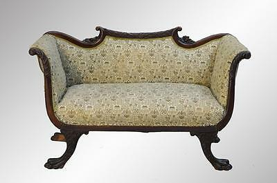 16900 Antique Mahogany Regency Claw Foot Carved Victorian Sofa