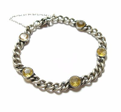 Beautiful Old Fine Antique Victorian Silver Bracelet Set With Citrines (B8)