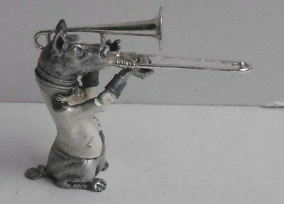 Sterling Silver Dog Orchestra Musician Playing Trombone J M Colero ?