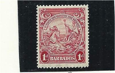 Barbados 1938 1d Scarlet P.14 Mounted Mint SG249a