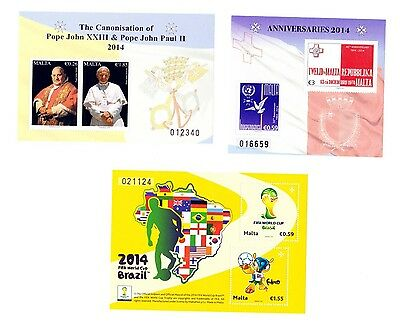 Malta 3 Miniature sheets 2014 FIFA wc , Anniversaries, and Pope MNH