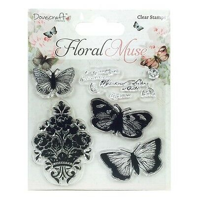 Dovecraft Floral Muse Clear Stamps/ Stempel - Butterfly, Schmetterling