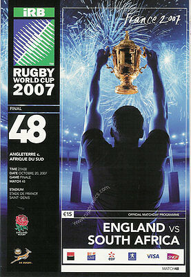 2007 Rugby World Cup Final Programme England v South African Springboks
