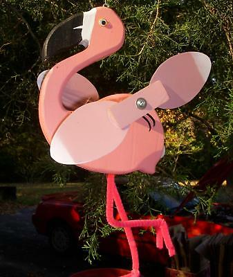 Flamingo Mini Whirligigs Whirligig Windmill Yard Art Hand made from wood