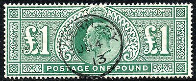 GB Stamps:1911 SG 320 £1 Deep green Somerset House Printing Very Fine Used