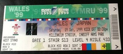 1999 RUGBY WORLD CUP - Wales v Japan ticket