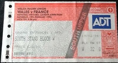 1994 WALES v FRANCE ticket - Wales 5 Nations Champions