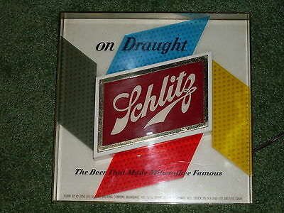 Rare 1955 ON DRAUGHT  Schlitz Beer Pinwheel Lighted Sign Very Good Condition