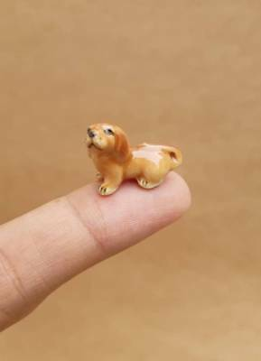 Adorable Dachshund dogs puppy Miniature Handmade Collectible Ceramic figurine