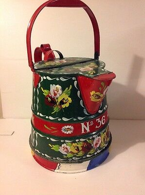 Vintage Bargeware Narrow Boat Hand Painted Water Carrier Roses Buckby Canal