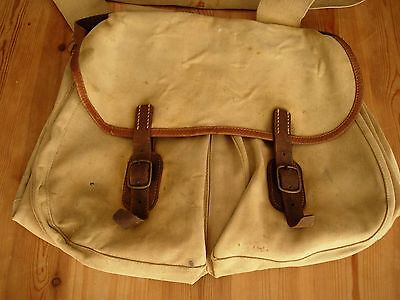 Vintage Brady Halesowen canvas and leather fishing shooting hunting game bag