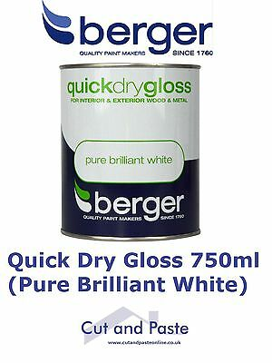 Berger Quick Dry Gloss Paint 750ml, Pure Brilliant White, Interior and exterior