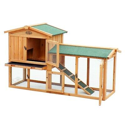 Wooden Rabbit Hutch Guinea Pig Ferret Run 2Tier Wood Pet House Cage Easipet L XL