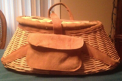 Large Unique Wicker Fishing Creel Basket Leather Trim Pouch