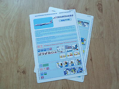 Transaero 777-200 Series Safety Card