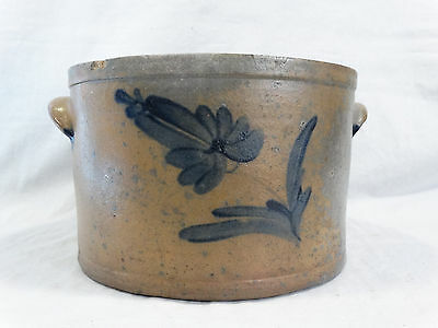 19thC Antique PENNSYLVANIA Blue COBALT FLOWER Old PA PRIMITIVE CAKE Cheese CROCK