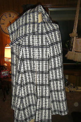 Vintage 60s 70s Women's 2 pc Outfit Black & White Stripes Checks CAPE & PANTS S