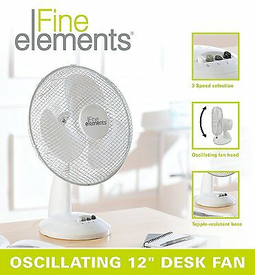 """12"""" Portable Desk Cooling Oscillating 3 Speed Silent Fan Electric Home Office"""