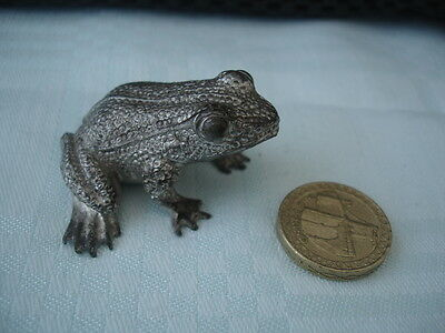 Miniature Metal Frog Figure Colour Silver Stamped Made In England