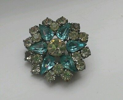 Vintage 40s Prong Set Blue & Clear Rhinestone Paste Brooch Pin