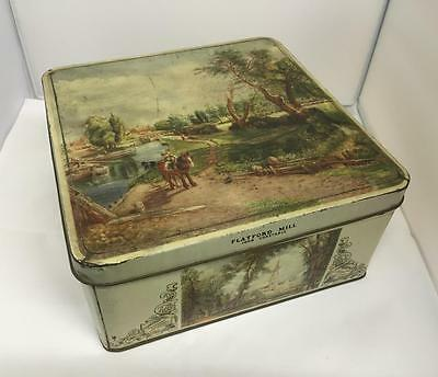 Vintage Huntley & Palmers Biscuit Tin Featuring Flatwood Mill John Constable