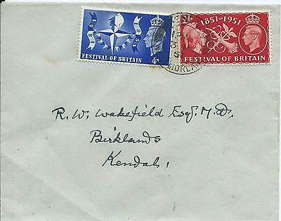 GB 1951 Festival of Britain Set (2) on FDC with Kendal CDS