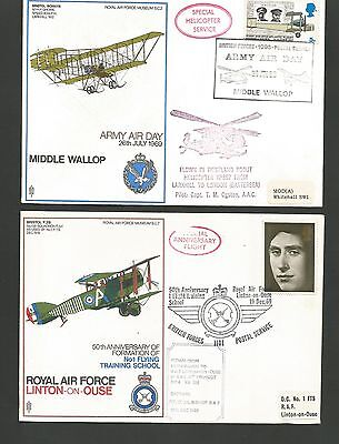 GB Postal History 1969 Two Flown Covers RAF Middle Wallop RAF Linton-on-Ouse