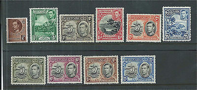 Grenada 1937/8 Set to 2/- (10) Mounted Mint SG152a/161a
