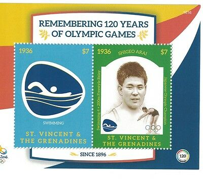 St Vincent Grenadines - 2016 Olympics Rio, Swimming - S/S MNH