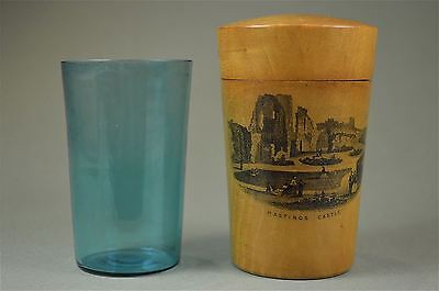 Antique Mauchline ware canister with glass view of Hastings Castle Sussex