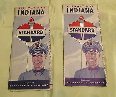 Lot of 2 Vintage INDIANA STANDARD OIL Company Highway ROAD MAPS 1950 Census Gas