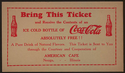 1920's Early Free Ice Cold Bottle of Coca Cola Ticket