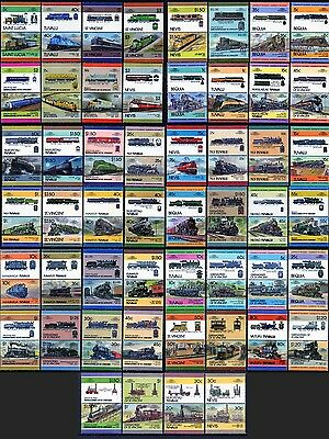 100 x USA Locomotive Train Stamps - American Railroad / Railway Collection