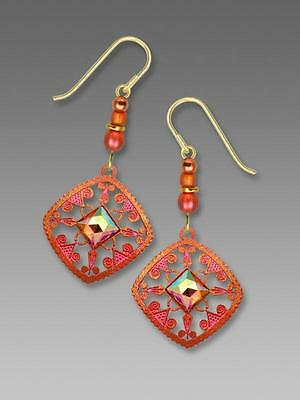Adajio Earrings Bright Bronze and Coral Filigree with Faceted Square Cabochon