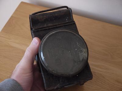 Distressed Old Black Train Railway Station Hand Lantern/lamp With Glass Front