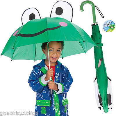 "Green Frog Umbrella for Children 28"" Rain Gear Kids NY Froggy Gift"