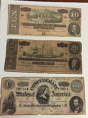 Lot Of 3 1864 Confederate Currency Notes $10, $20, And $100. Civil War Rare