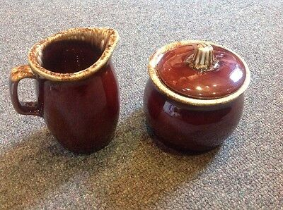 Hull Brown Drip Creamer And Covered Sugar Bowl Set Oven Proof