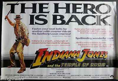Indiana Jones And The Temple Of Doom  Original 1984 Quad Poster Harrison Ford