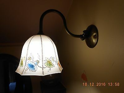 Brass Swan Neck Wall Light With Feature Glass Shade