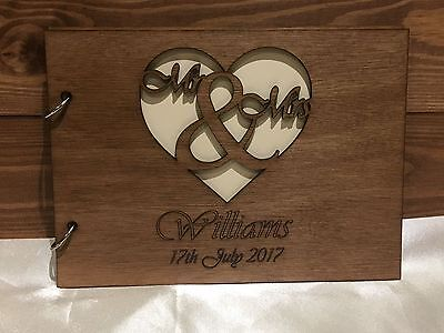 Personalised Wedding Engagement Anniversary Guest Book Scrapbook Album Wooden