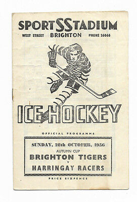 Ice Hockey Programme 28 October 1956 - BRIGHTON TIGERS v. HARRINGAY RACERS